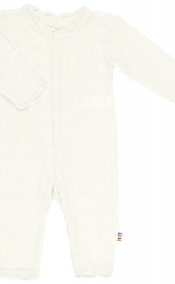 Joha heldragt i uld/silke med blondekant - hvid
