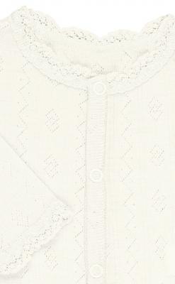 Detaljebillede af Joha heldragt i uld/silke med blondekant - hvid