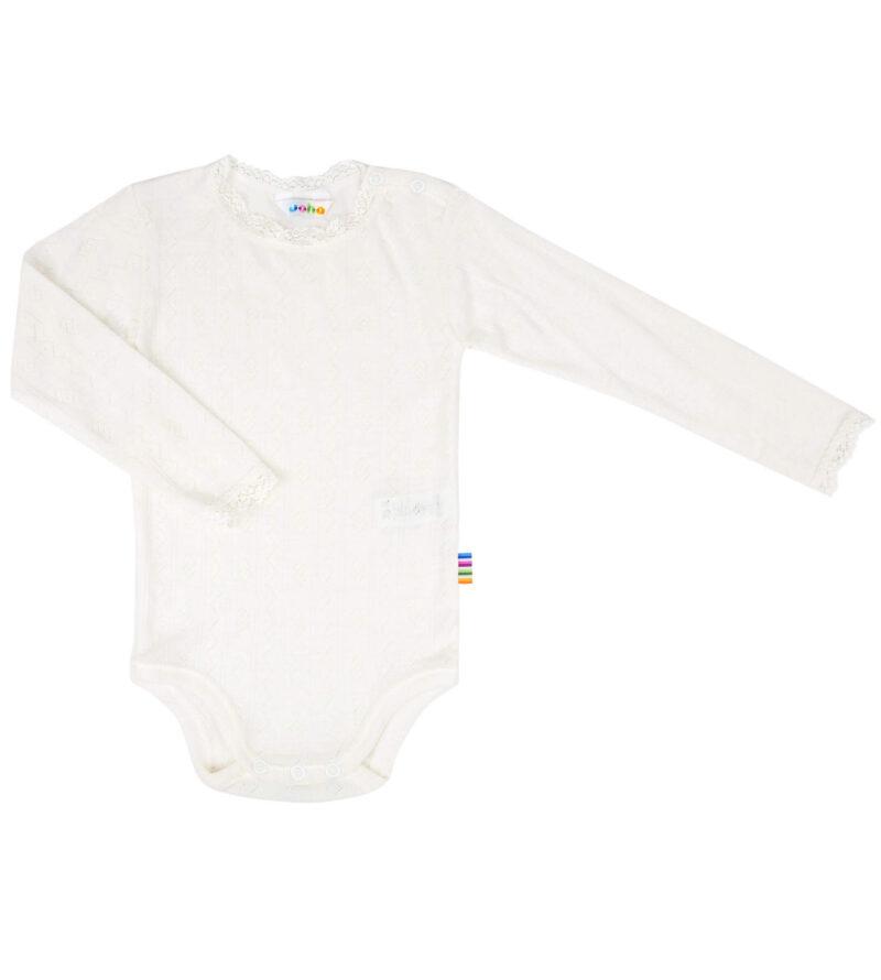 Joha body i uld/silke med lange ærmer - hvid