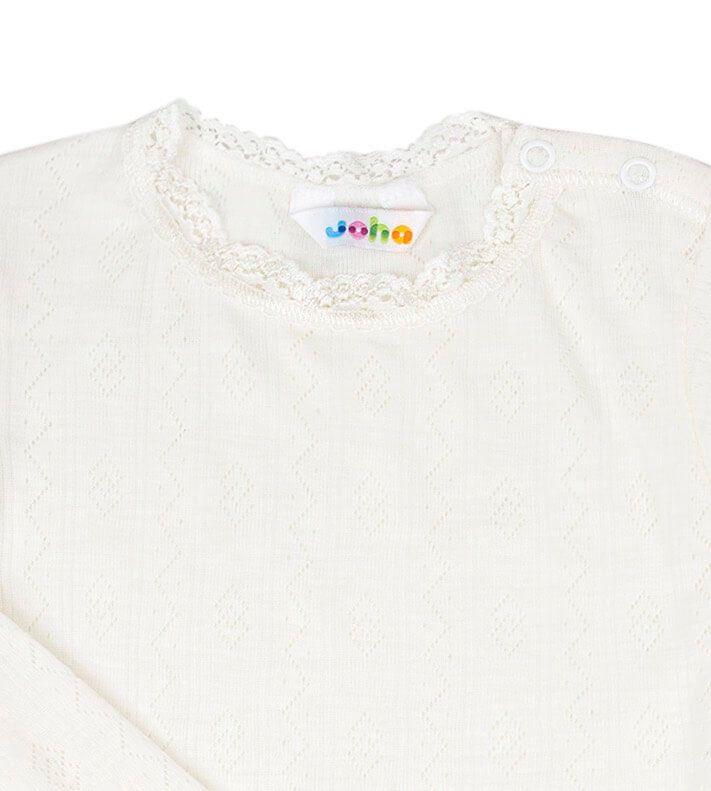 Hals med blonder på Joha body i uld/silke med lange ærmer - hvid