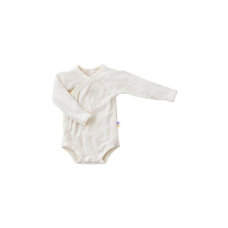 Langærmet body til for tidligt født. Hvid merinould. Body'en har skrålukning.