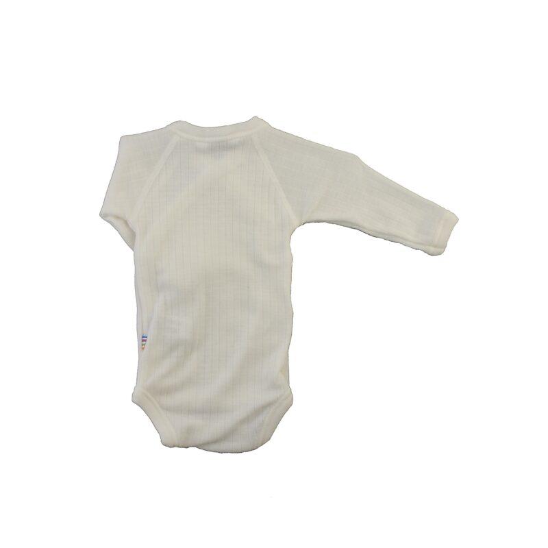 Langærmet body til for tidligt født. Hvid svanemærket merinould. Bagsiden.