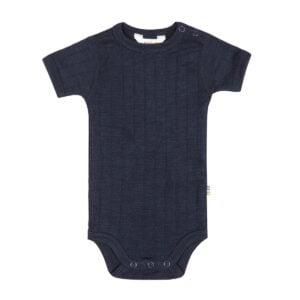Joha uld-silke body med korte ærmer i marineblå