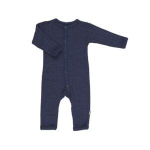 Joha natdragt i uld/silke. Marineblå natdragt til baby.