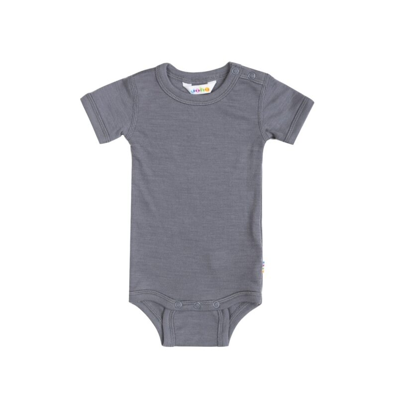 Joha uld-silke body med korte ærmer i grå