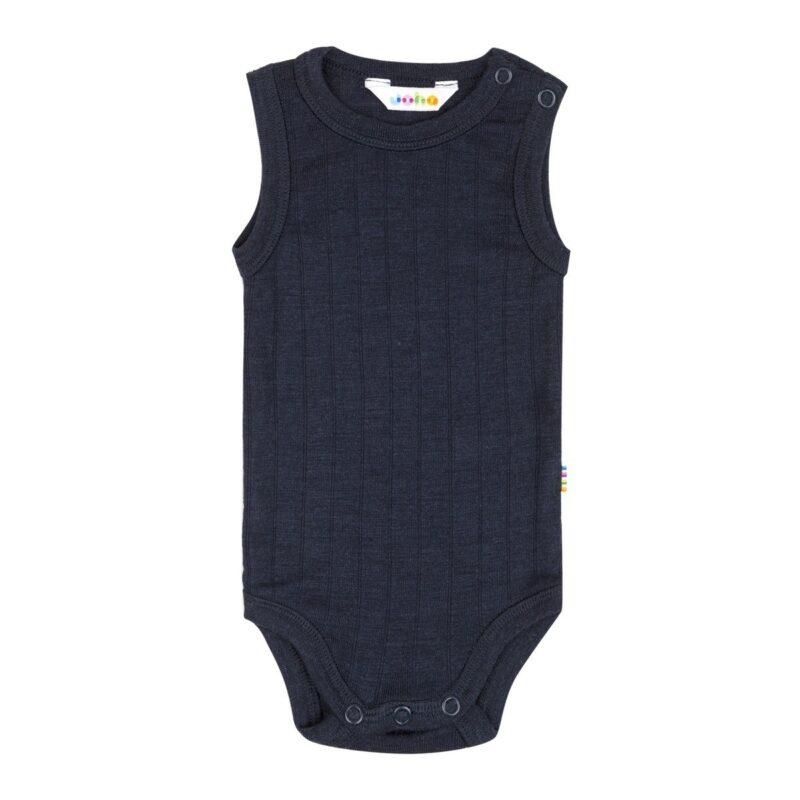 Joha uld-silke body uden ærmer i marineblå. Sommeruld.