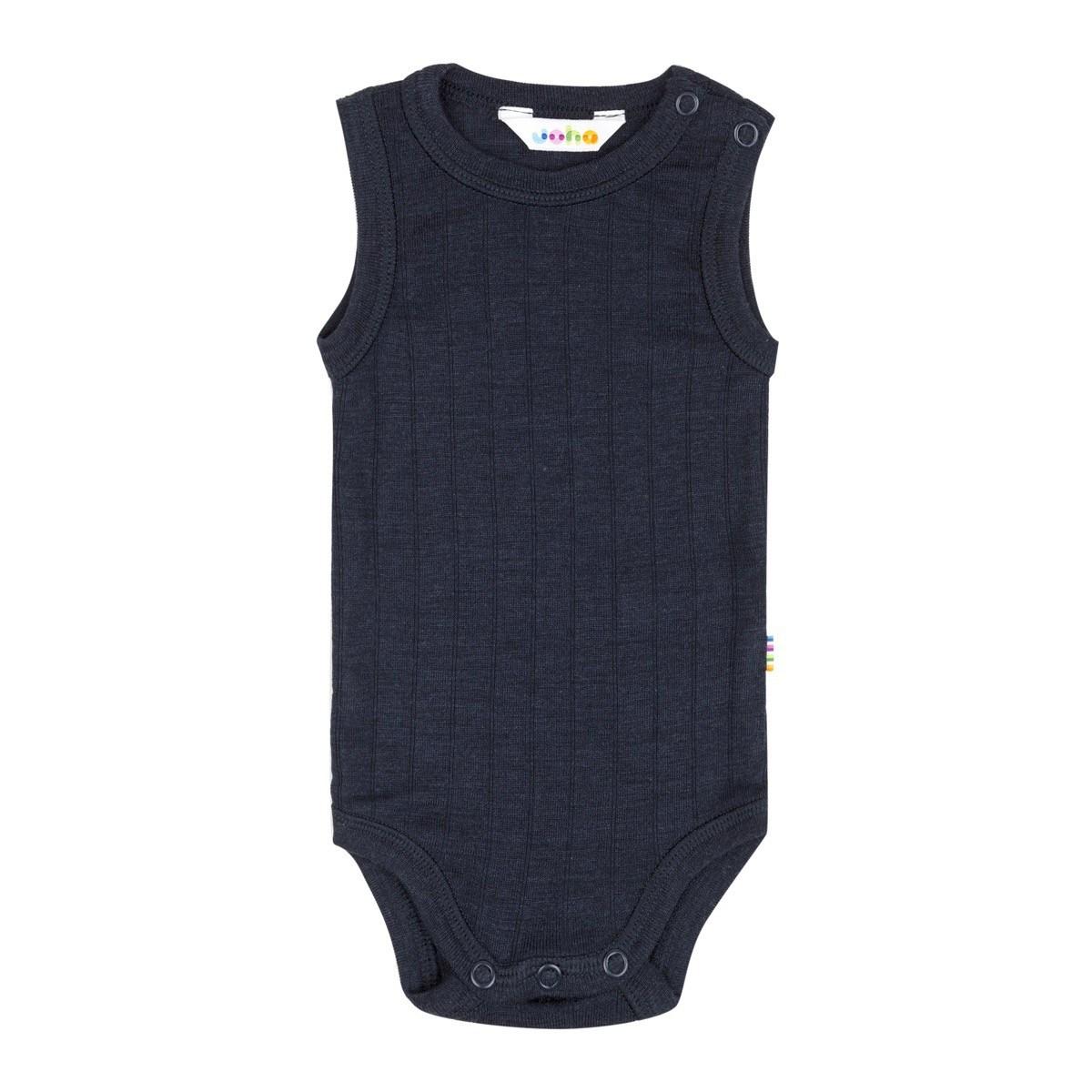 3c409192 Body uden ærmer i blød uld/silke blanding - Marineblå. Joha