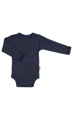 Langærmet body i marineblå uld/silke fra Joha.