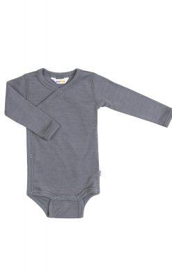 Langærmet body til præmatur baby. Grå uld silke fra Joha. Body'en har slå om-lukning.
