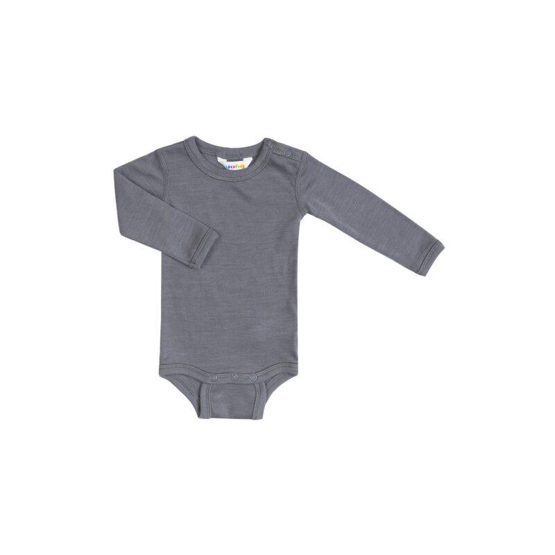 Langærmet body i grå uld silke fra Joha.
