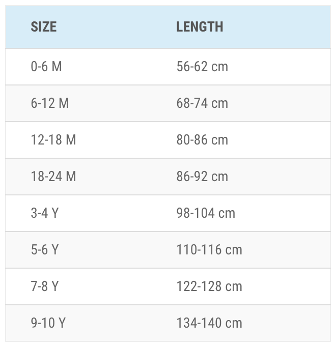 Melton størrelsesguide for tøj