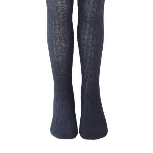 Melton strømpebukser i marineblå - 75% uld
