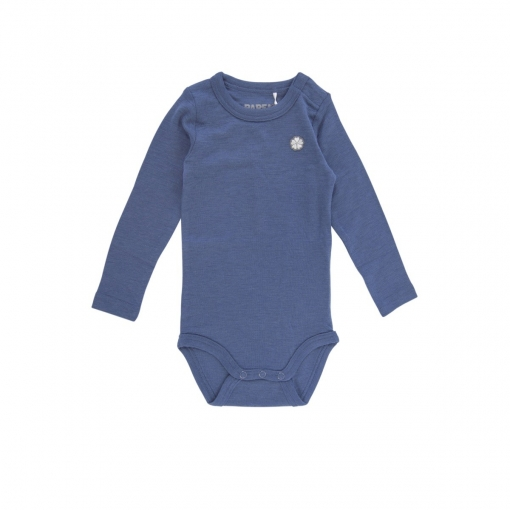 Blå langærmet uldbody fra Papfar