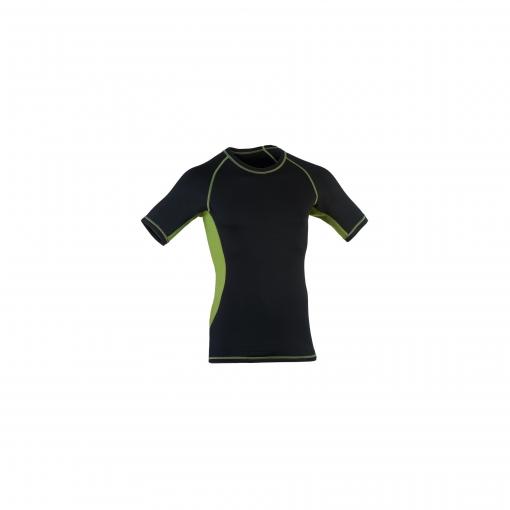 Økologisk løbe t-shirt i sort og grøn uld silke. Engel.
