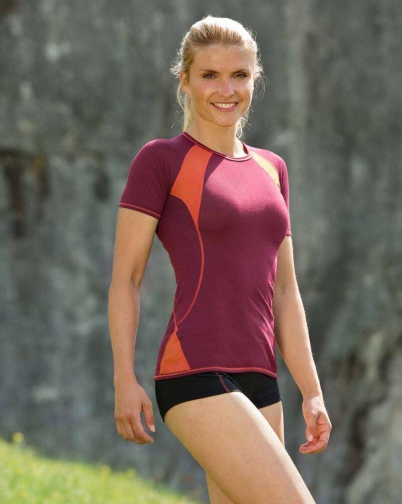 Kortærmet løbetrøje i uld/silke til kvinder - Engel GOTS