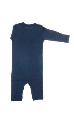 Heldragt i 100% uld. Blå med knapper i ben og skulder. Papfar. Bagsiden.