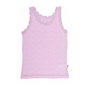 Billede af Rosa undertrøje i uld/silke med blondekanter - rosa