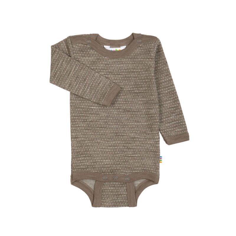 uld body langærmet brun 100% merinould - Joha