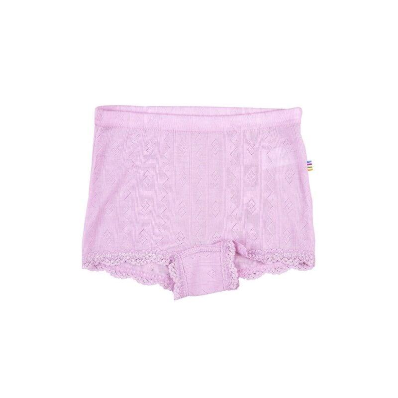 Billede af Uld/silke hipsters underbukser med blondekant i rosa fra Joha