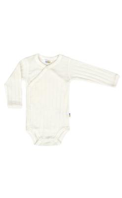 Langærmet Joha body i uld/silke til præmatur - hvid