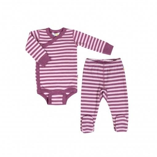 Billede af Præmatur sæt fra Joha - leggings med for og langærmet body i 100% uld - lyserød