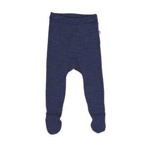 Billede af leggings i uld silke med fod. Marineblå - Joha