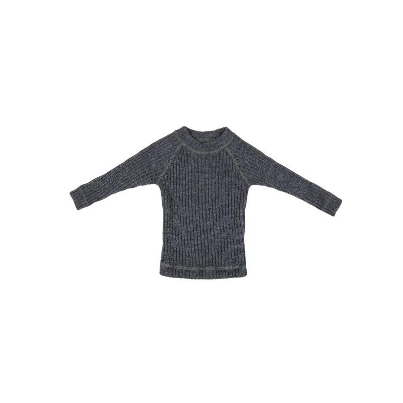 Ulden bluse i 100% merinould fra Joha - mørkegrå
