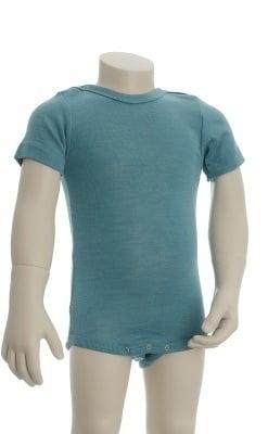 Økologisk body med korte ærmer. Engel body i turkis uld silke.