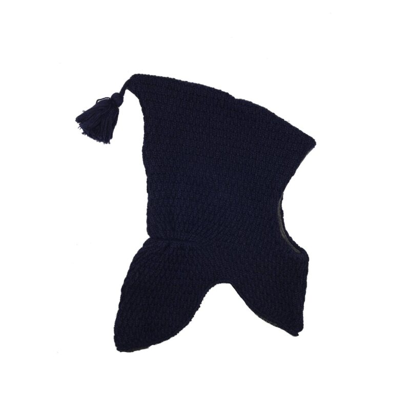 Elefanthue i uld fra Melton. Med kvast og vindstop. Mørkeblå
