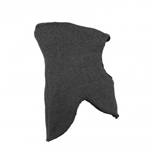 Elefanthue i uld fra Melton. Med kvast og vindstop. Mørkeblå. Vrangen