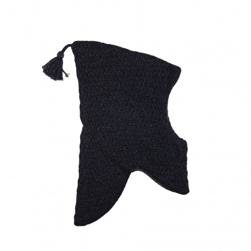 Elefanthue i uld fra Melton. Med kvast og vindstop. Blåmeleret