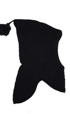 Elefanthue i uld fra Melton. Med kvast og vindstop. Sort