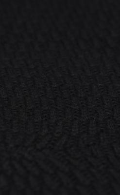 Elefanthue i uld fra Melton. Med kvast og vindstop. Sort - close up