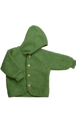 Engel uld jakke - GOTS. Grøn med knapper og hue