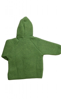 Engel uld jakke - GOTS. Grøn med knapper og hue. Bagfra