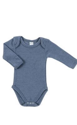 Langærmet body i blå merinould fra Smallstuff