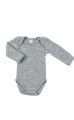 Langærmet body i grå merinould fra Smallstuff