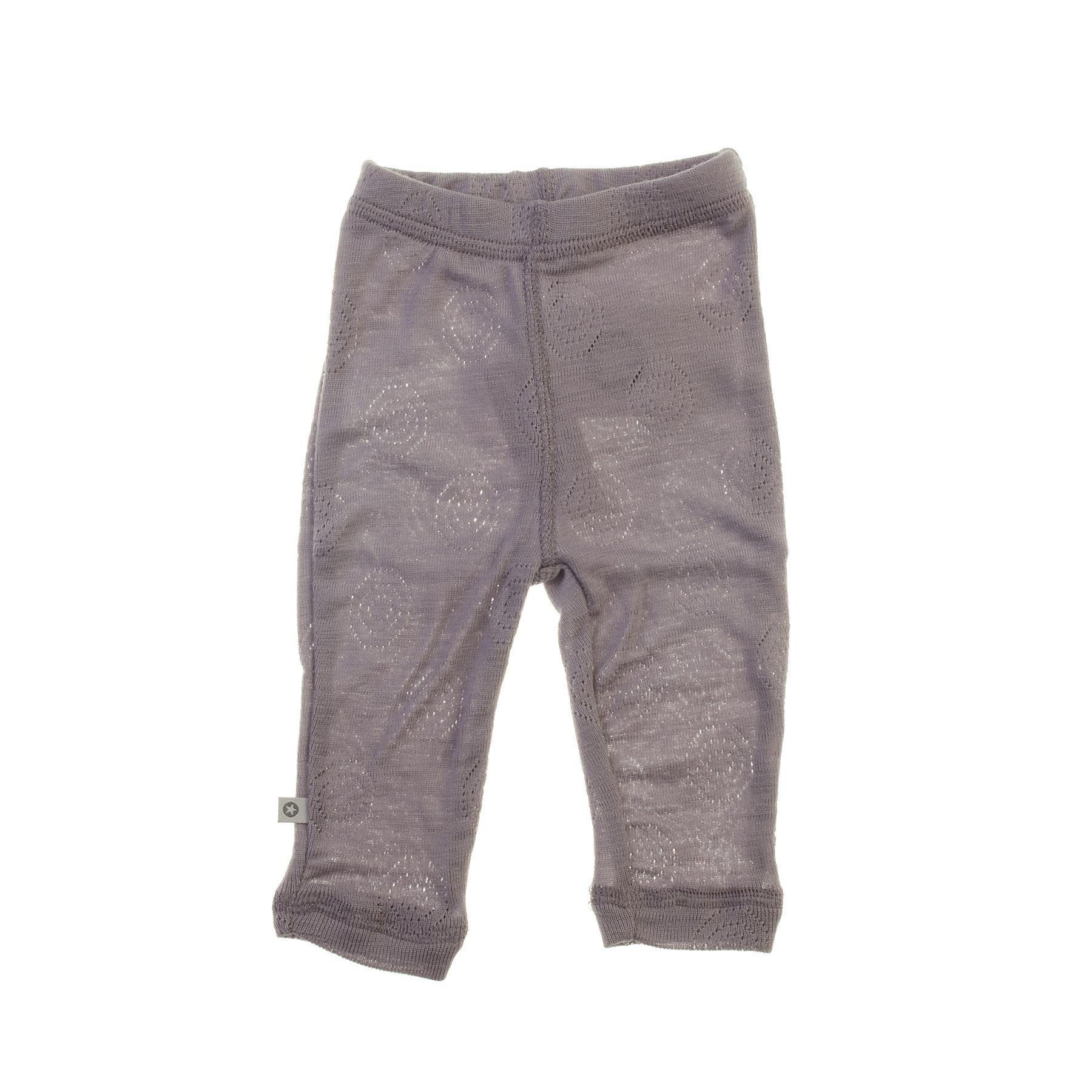 SmallStuff leggings i ren uld med hulmønster - Støvet lilla