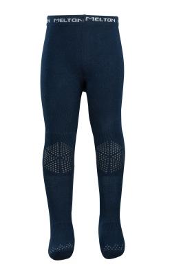 Strømpebukser i uld med skridsikre dutter på knæ og under fod. Mørkeblå