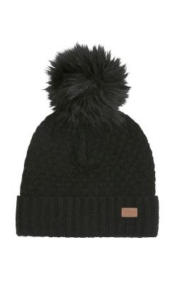 Vinterhue til børn uld - med aftagelig kvast. Sort fra Melton