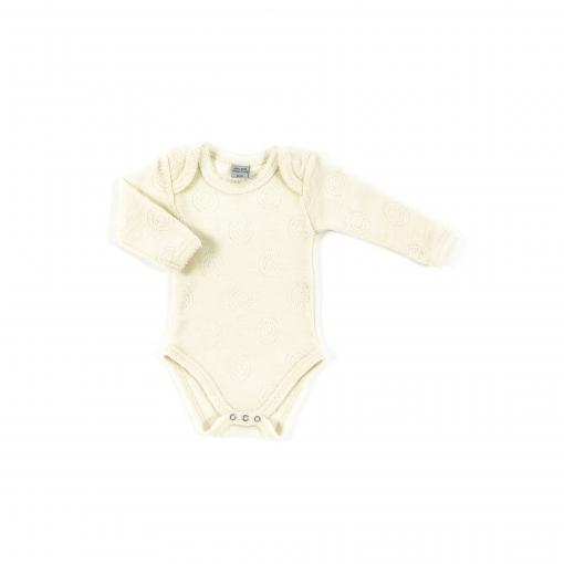 Langærmet body fra Smallstuff i 100% merinould - Hvid