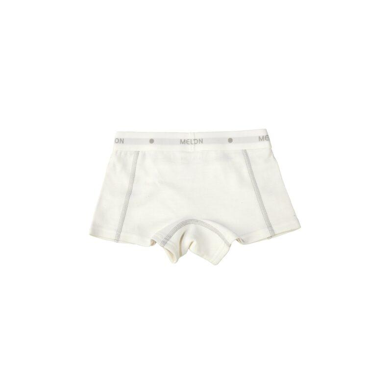 Melton uld/bomuld boxershorts underbukser til piger i hvid. Bagsiden