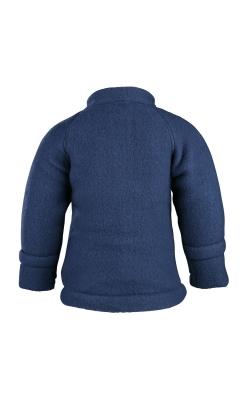 Jakke i softuld - blå. Folde om ærmer. mikk-line. Bagfra