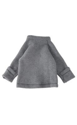 Jakke i softuld - grå. Folde om ærmer. mikk-line. Bagfra