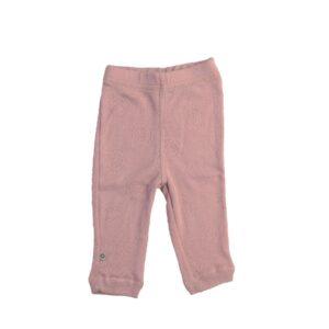 Leggings i rosa merinould. Fint hulmønster. Smallstuff.