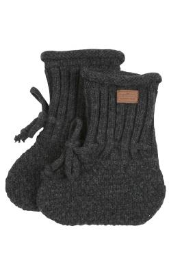 Futter i strik uld med snørreluk. Mørkegrå