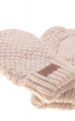 Luffer til baby og børn i råhvid uld fra Melton med tommeltot. Close up
