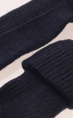 Uldstrømpe fra Melton. Smal rib strik. Meget elastisk. Marineblå - Close up