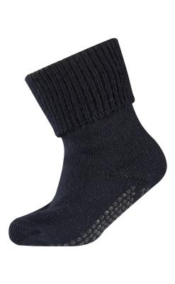 Uldstrømper med gummidutter under foden. Kan bruges som gå-strømpe eller erstatning for sutsko. Mørkeblå