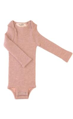 Langærmet body i rosa GOTS merinould fra Alerin